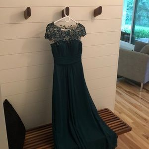 Full length gown.  Emerald green